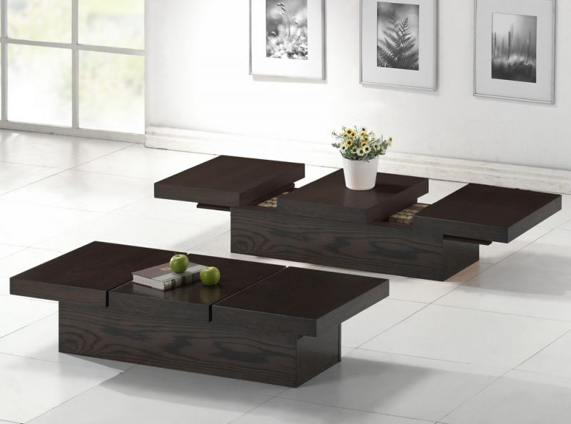 Wonderful Unique Brown Leather Ottoman Coffee Tables With Storages Within Circle Coffee Table With Storage Corbett Coffee Table Storage (Image 40 of 40)