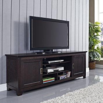 Wonderful Unique Espresso TV Cabinets Regarding Amazon 70 Wood Tv Stand With Sliding Doors In A Beautiful (Image 49 of 50)