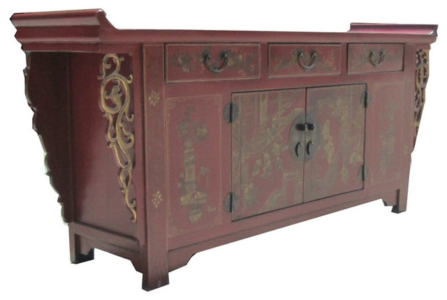 Wonderful Unique Gold TV Stands Pertaining To Caozhou Antique Red Gold Paint Altar Buffet Table Tv Stand Cabinet (View 44 of 50)