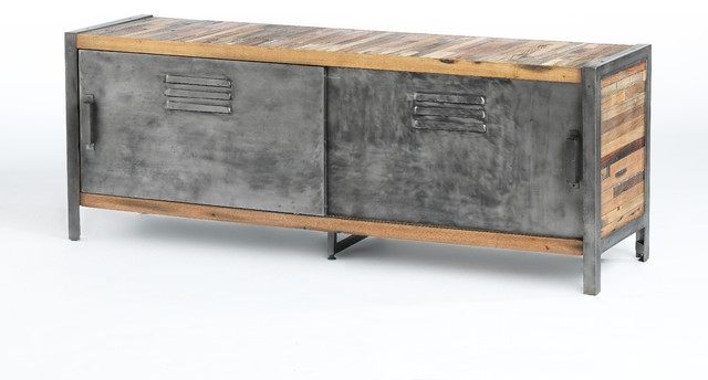 Wonderful Unique Industrial Style TV Stands With Regard To Locker Style Sliding Door Tv Unit Made Of Metal And Recycled Wood (View 20 of 50)