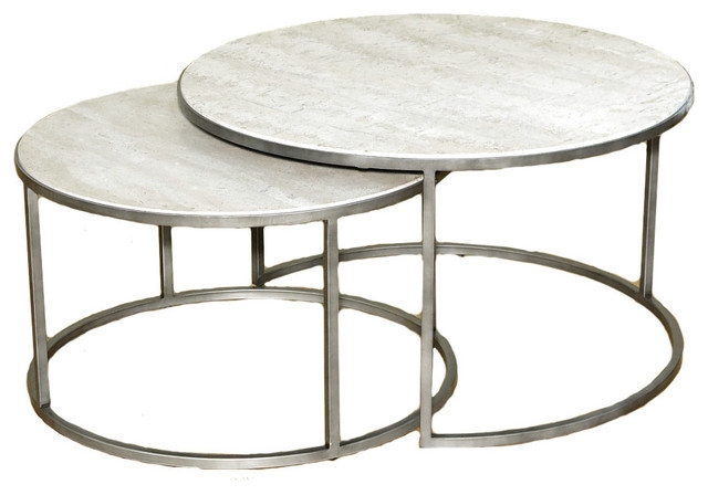Wonderful Unique Metal Round Coffee Tables In Hammary Silver Metal Round Nesting Coffee Tables Travertine Top (View 12 of 50)