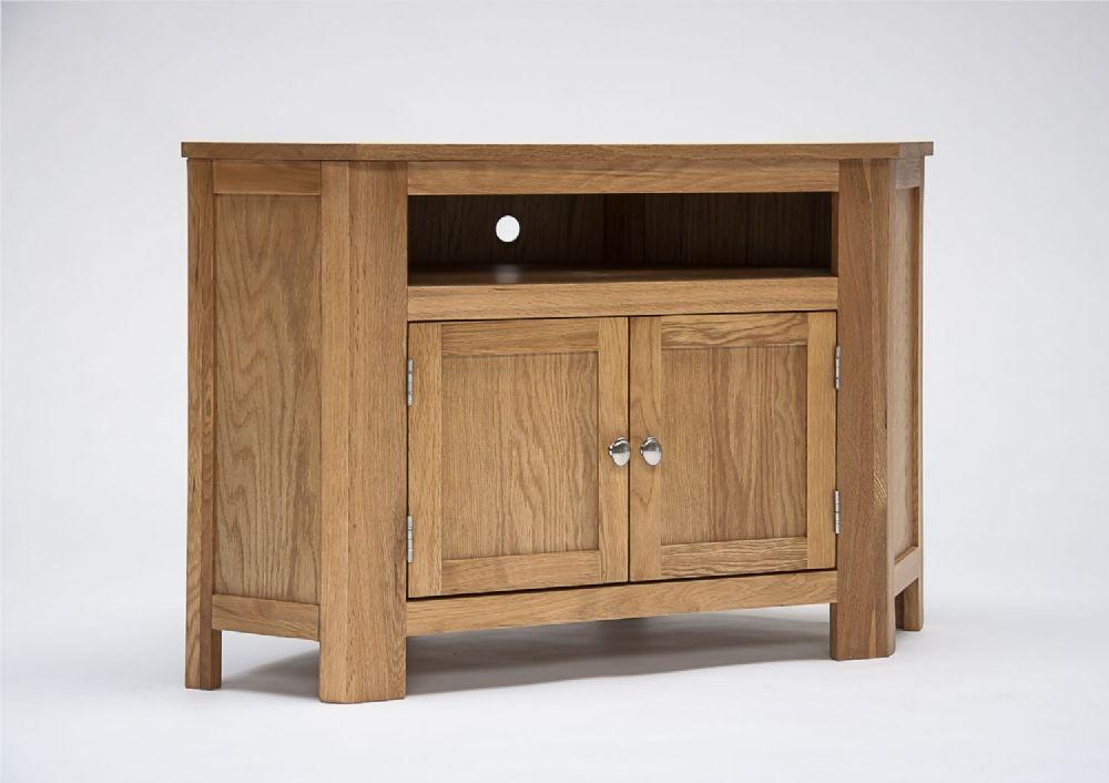 Wonderful Unique Oak Corner TV Cabinets Pertaining To Lansdown Oak Corner Tv Cabinet With Cupboard (Image 49 of 50)