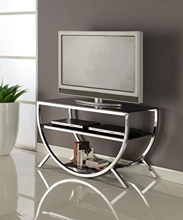 Wonderful Unique Wood TV Stands With Glass Top Intended For Amazon Kings Brand Furniture Metal With Glass Top Shelves (Image 49 of 50)