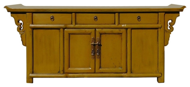 Wonderful Variety Of Asian TV Cabinets With Regard To Chinese Mustard Yellow Green Low Credenza Tv Console Cabinet (View 19 of 50)