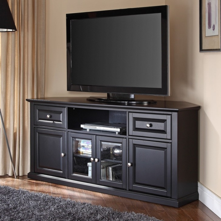 Wonderful Variety Of Black Corner TV Cabinets With Glass Doors For Black Corner Tv Cabinet With Glass Doors (Image 48 of 50)