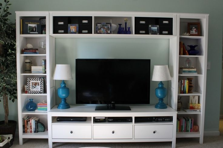 Wonderful Variety Of Bookshelf TV Stands Combo Throughout Upgraded Entertainment Center Ikea Hemnes Tv Stand And Media (View 32 of 50)