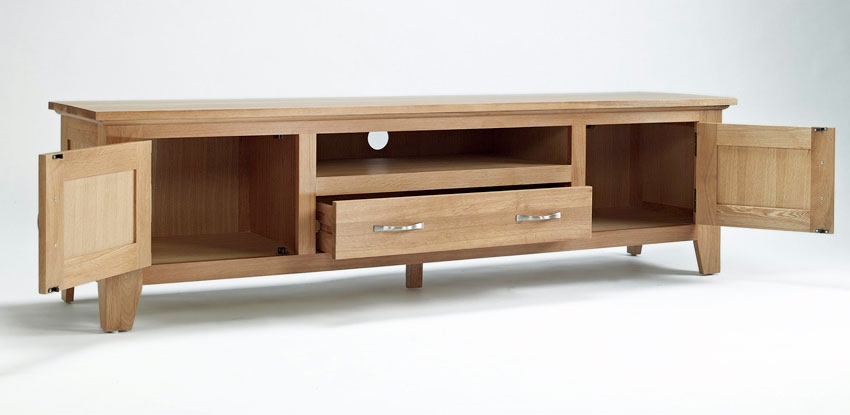 Wonderful Variety Of Chunky TV Cabinets Regarding Elegant Oak Widescreen Television Unit Hampshire Furniture (Image 48 of 50)