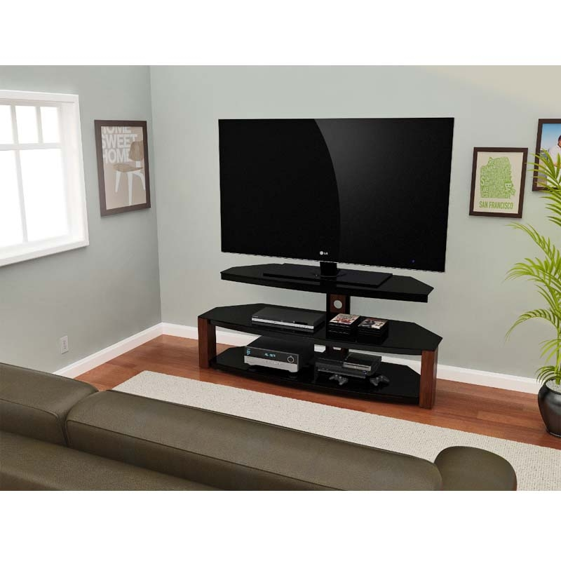 Wonderful Variety Of Corner TV Stands For 55 Inch TV Intended For Z Line Designs Rhine 55 Inch Corner Tv Stand Black And Cherry (View 11 of 50)