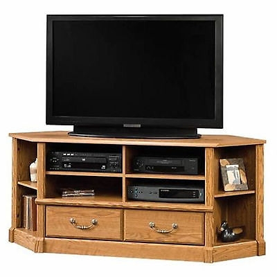 Wonderful Variety Of Oak TV Stands For Flat Screen Regarding Corner Tv Stand Oak Wood Media Center Console Entertainment (Image 49 of 50)