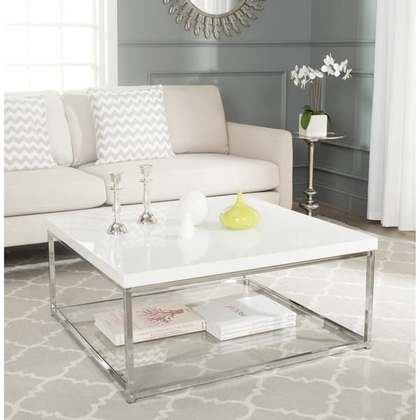 Wonderful Variety Of White And Chrome Coffee Tables Regarding Safavieh Modern Glam Malone White Chrome Coffee Table Free (View 2 of 50)