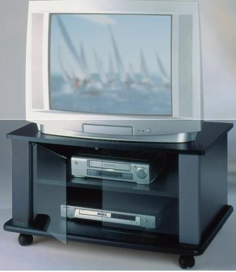 Wonderful Well Known Black TV Stands With Glass Doors With Elite Industries El146b Tv Stand On Heavy Duty Casters (Image 49 of 50)