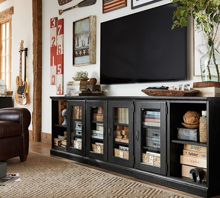 Wonderful Well Known Long Low TV Cabinets For Printers Long Low Media Stand Tuscan Chestnut Pottery Barn (Image 49 of 50)