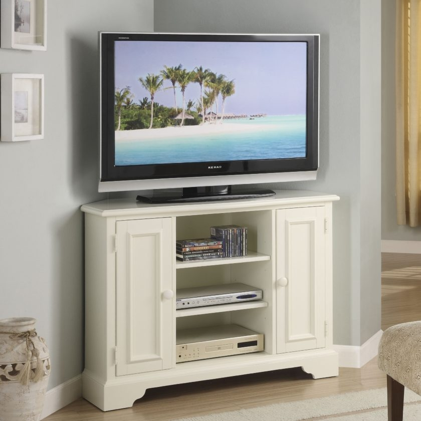Wonderful Well Known Mahogany Corner TV Stands With White Painted Mahogany Wood Corner Tv Stand With Classic Swing (Image 49 of 50)