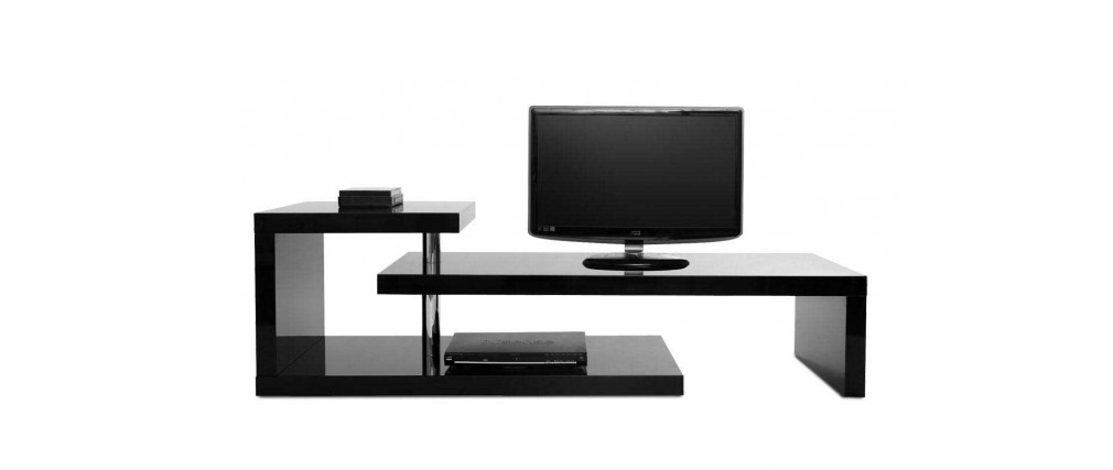 Wonderful Well Known Modern Black TV Stands Inside Glossy Black Modern Tv Stand Turn Miliboo (Image 50 of 50)