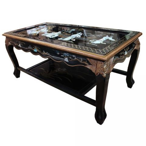 Wonderful Well Known Mother Of Pearl Coffee Tables Throughout Black Lacquered With Mother Of Pearl Coffee Table (Image 50 of 50)