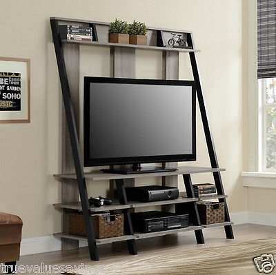 Wonderful Well Known Oak TV Stands With Oak Wood Ladder Tv Stand 4 Tier Media Cabinet Display Shelf Rustic (Image 49 of 50)
