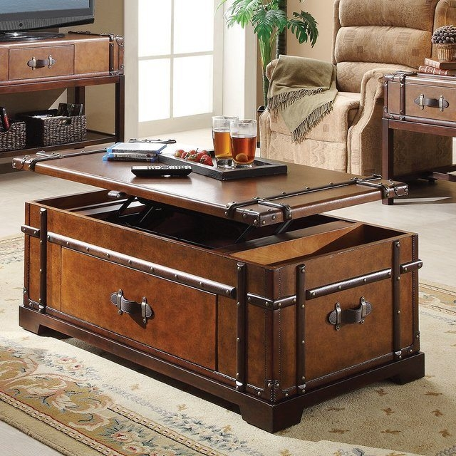 Wonderful Well Known Trunk Coffee Tables With Steamer Trunk Coffee Lift Top Table Gadget Flow (View 34 of 50)
