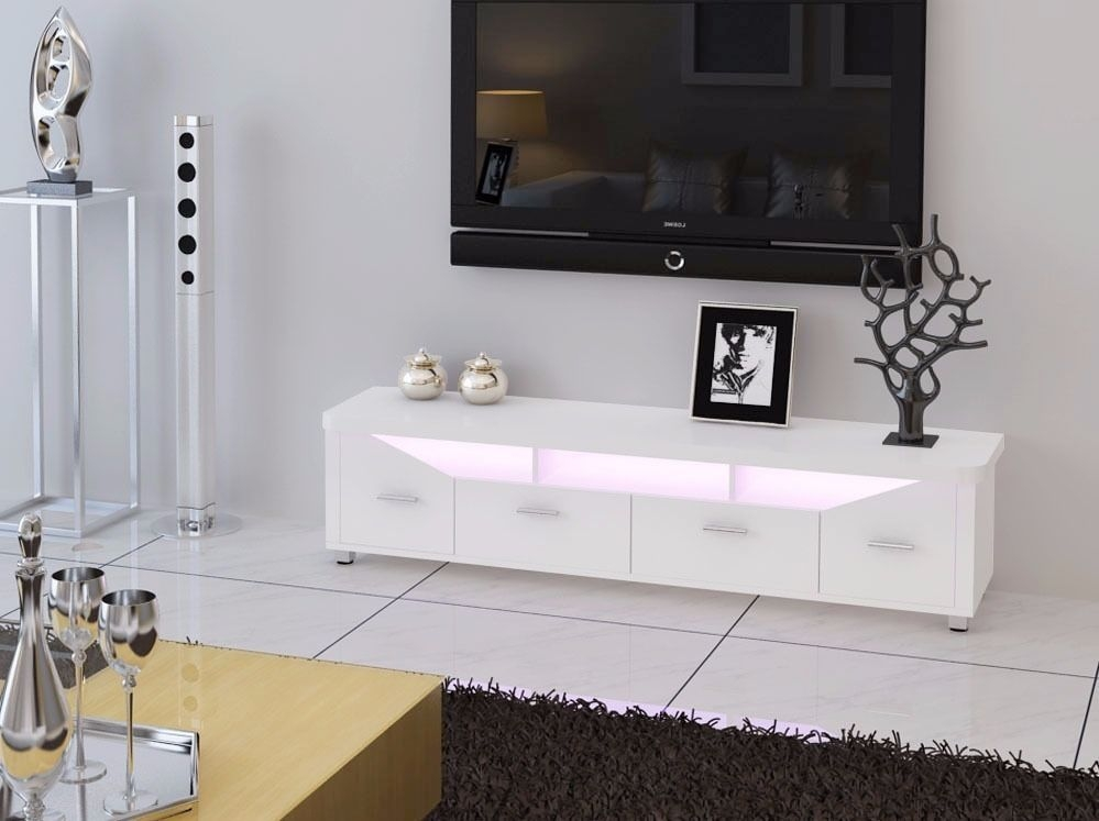 Wonderful Wellknown TV Stands With LED Lights For White High Gloss Tv Stand With Led Lights Home Design Ideas (Image 49 of 50)