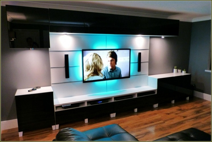 Wonderful Wellknown TV Stands With LED Lights With White Solid Wood Wall Mount Tv Stand With Blue Led Light Of (Image 50 of 50)