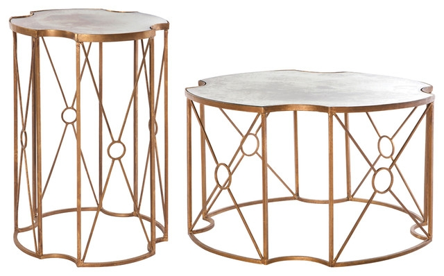 Wonderful Wellliked Antique Mirrored Coffee Tables Within Marlene Hollywood Gold Antique Mirror Coffee End Table Set Of  (View 33 of 40)