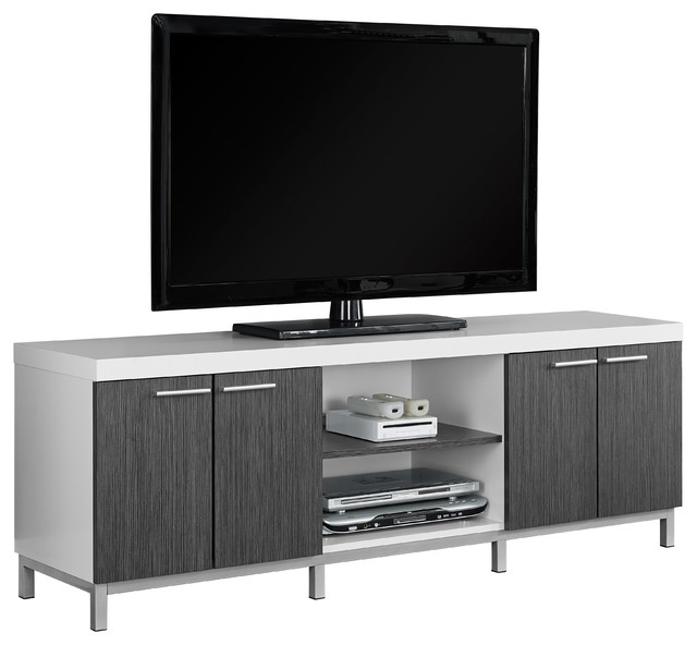 Wonderful Wellliked Cabinet TV Stands With Regard To Tv Stand 60l Black Gray Contemporary Entertainment Centers (Image 50 of 50)