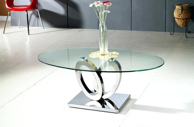 Wonderful Wellliked Chrome Glass Coffee Tables Pertaining To Oval Glass Coffee Table Set Image Of Modern Oval Glass Coffee (Image 50 of 50)