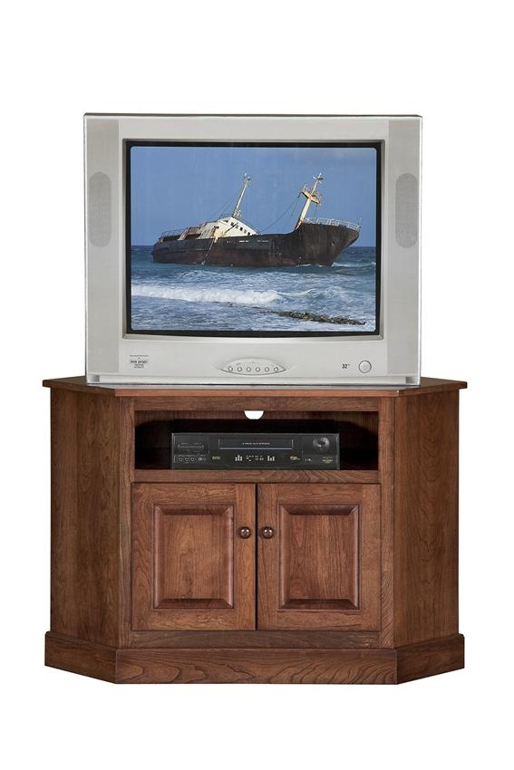 Wonderful Wellliked Compact Corner TV Stands Regarding Amish Shaker Compact Corner Tv Stand (View 41 of 50)