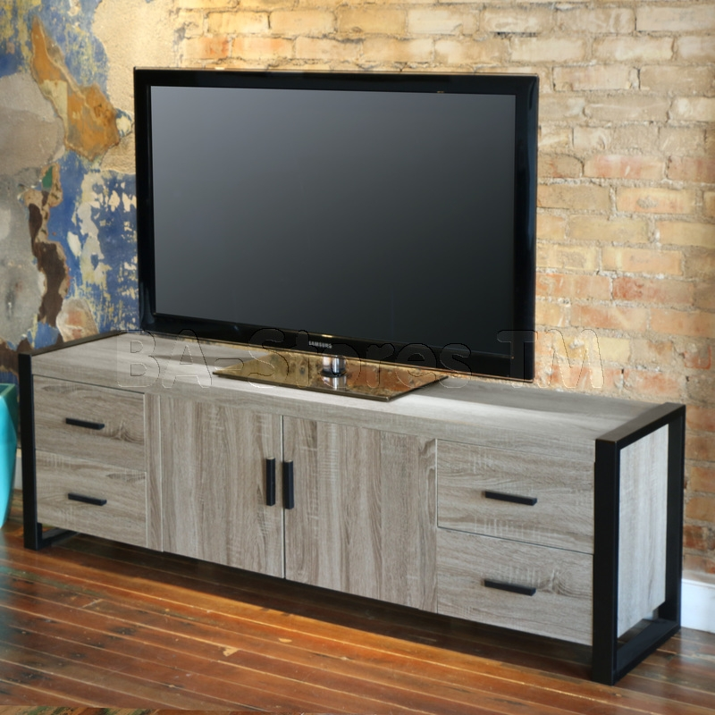 Wonderful Wellliked Grey TV Stands Regarding 60 Urban Blend Tv Stand With Mount Driftwood Tv Plasma (Image 50 of 50)