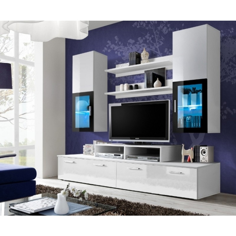 Wonderful Wellliked High Gloss TV Cabinets Intended For White High Gloss Wall Unit Toledo 1 Concept Muebles (View 46 of 50)