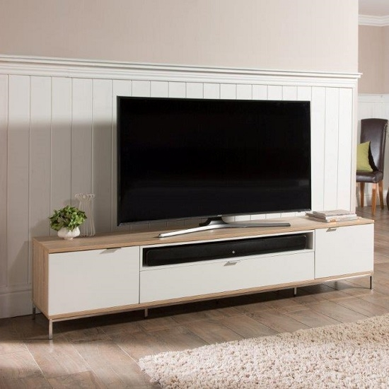 Wonderful Wellliked Large TV Cabinets Intended For Nelson Wooden Tv Cabinet Large In White And Light Oak (View 6 of 50)