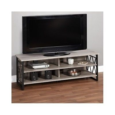 Wonderful Wellliked Reclaimed Wood And Metal TV Stands Within 60 Tv Stand Console Gaming Table Grey Metal Entertainment (Image 50 of 50)