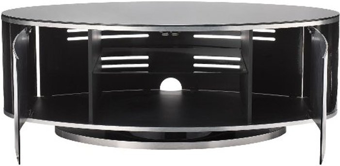 Wonderful Wellliked Stil TV Stands Throughout Luna High Gloss Black Oval Tv Cabinet (Image 49 of 49)