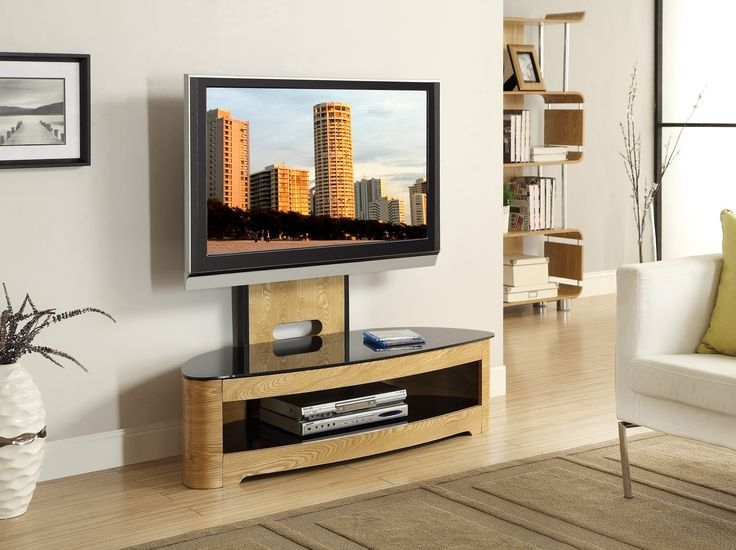 Wonderful Widely Used Cantilever TV Stands For Jual Furnishings Jf209 Curved Oak Cantilever Tv Stand Upto  (Image 50 of 50)