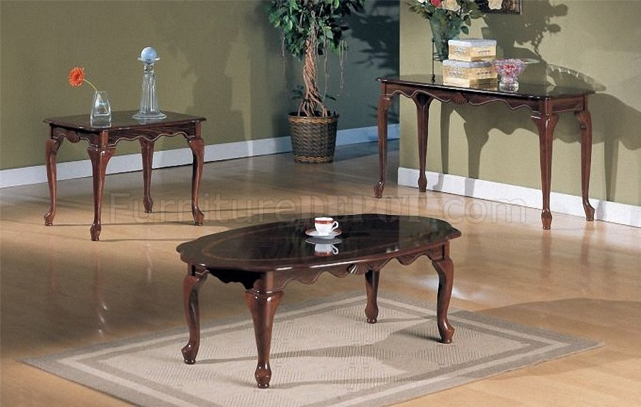 Wonderful Widely Used Cherry Wood Coffee Table Sets With Cherry Wood Finish Traditional 3pc Coffee Table Set (Image 50 of 50)