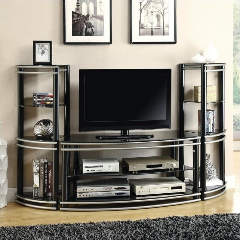 Wonderful Widely Used Curve TV Stands Inside Coaster Curved Tv Stand In Black And Silver (View 6 of 50)