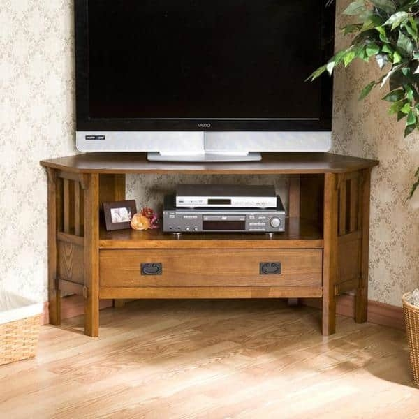Wonderful Widely Used Dark Wood Corner TV Stands  Throughout Harper Blvd Chenton Oak Corner Tv Stand Free Shipping Today (Image 49 of 50)