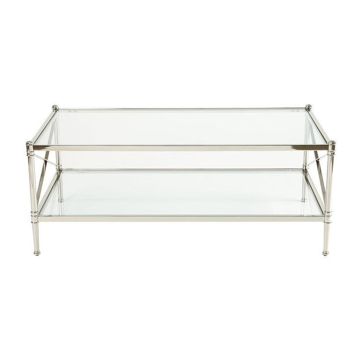 Wonderful Widely Used Glass Coffee Tables With Shelf Within Nickel And Glass X Sides Coffee Table (View 16 of 50)