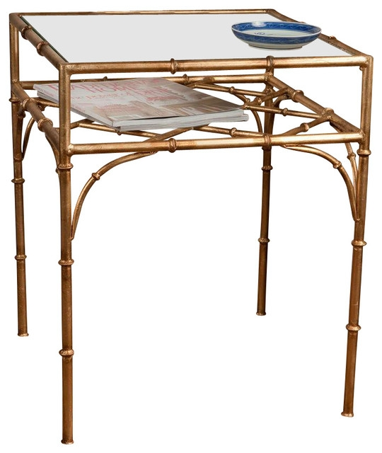Wonderful Widely Used Gold Bamboo Coffee Tables Regarding Square Bamboo Table Antique Gold Contemporary Side Tables And (View 32 of 50)