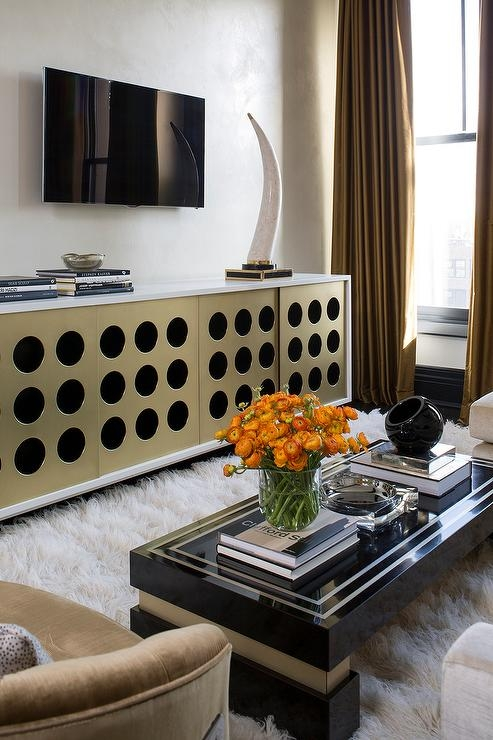 Wonderful Widely Used Gold TV Cabinets Pertaining To Glossy Black Tv Cabinet With Gold Pulls Contemporary Living Room (Image 50 of 50)