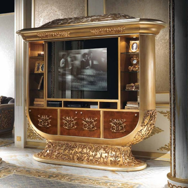 Wonderful Widely Used Gold TV Stands Within European Style Luxury Imperial Wood Carved Champagne Gold Tv (Image 50 of 50)