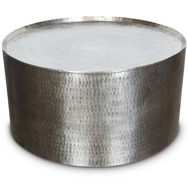 Wonderful Widely Used Hammered Silver Coffee Tables Regarding Silver Hammered Metal Industrial Round Coffee Table (Image 50 of 50)