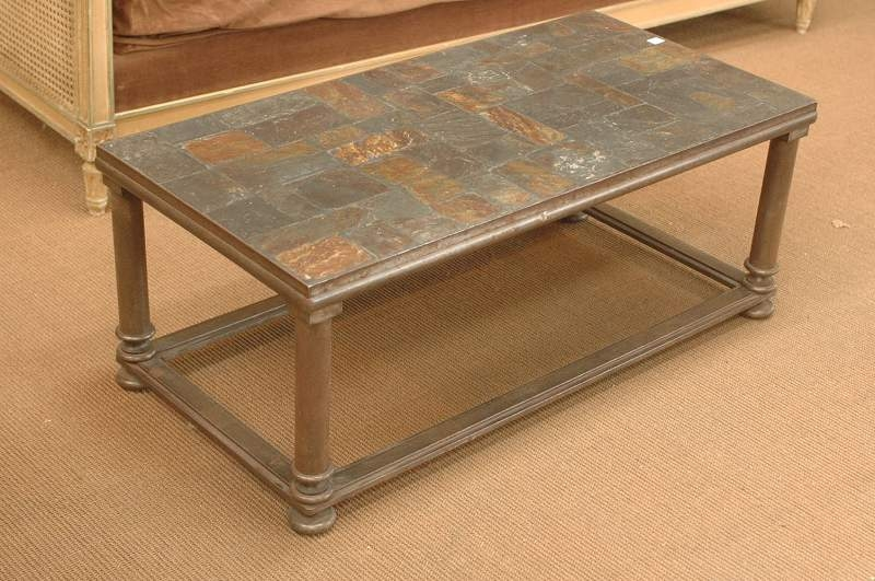 Wonderful Widely Used Metal Coffee Tables With Regard To French Vintage Slate Ardoise Mosaic Coffee Table With Metal Base (Image 50 of 50)