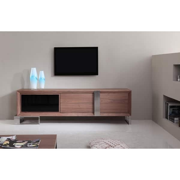 Wonderful Widely Used Modern Walnut TV Stands With Regard To Entertainer Light Walnutstainless Steel Modern Tv Stand With Ir (View 25 of 50)