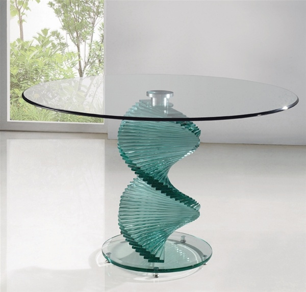 Wonderful Widely Used Spiral Glass Coffee Table In Twirl Clear Glass Dining Table Dining Table And Chairs Dining Tables (View 26 of 50)