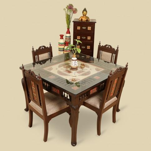 Wood 4 Seater Dining Table & Chair With Warli & Dhokra Work With Regard To 4 Seat Dining Tables (Image 20 of 20)