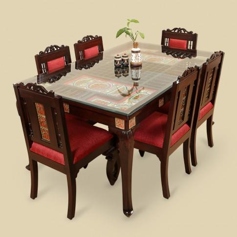 Wood 6 Seater Dining Table & Chair With Warli & Dhokra Work Pertaining To Six Seater Dining Tables (View 15 of 20)