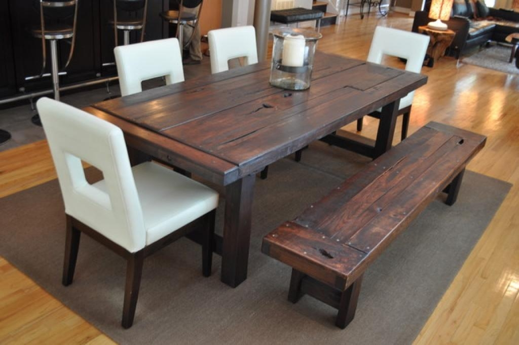 Wooden Dining Room Benches Emmerson Reclaimed Wood Dining Table Regarding Cheap Reclaimed Wood Dining Tables (View 19 of 20)