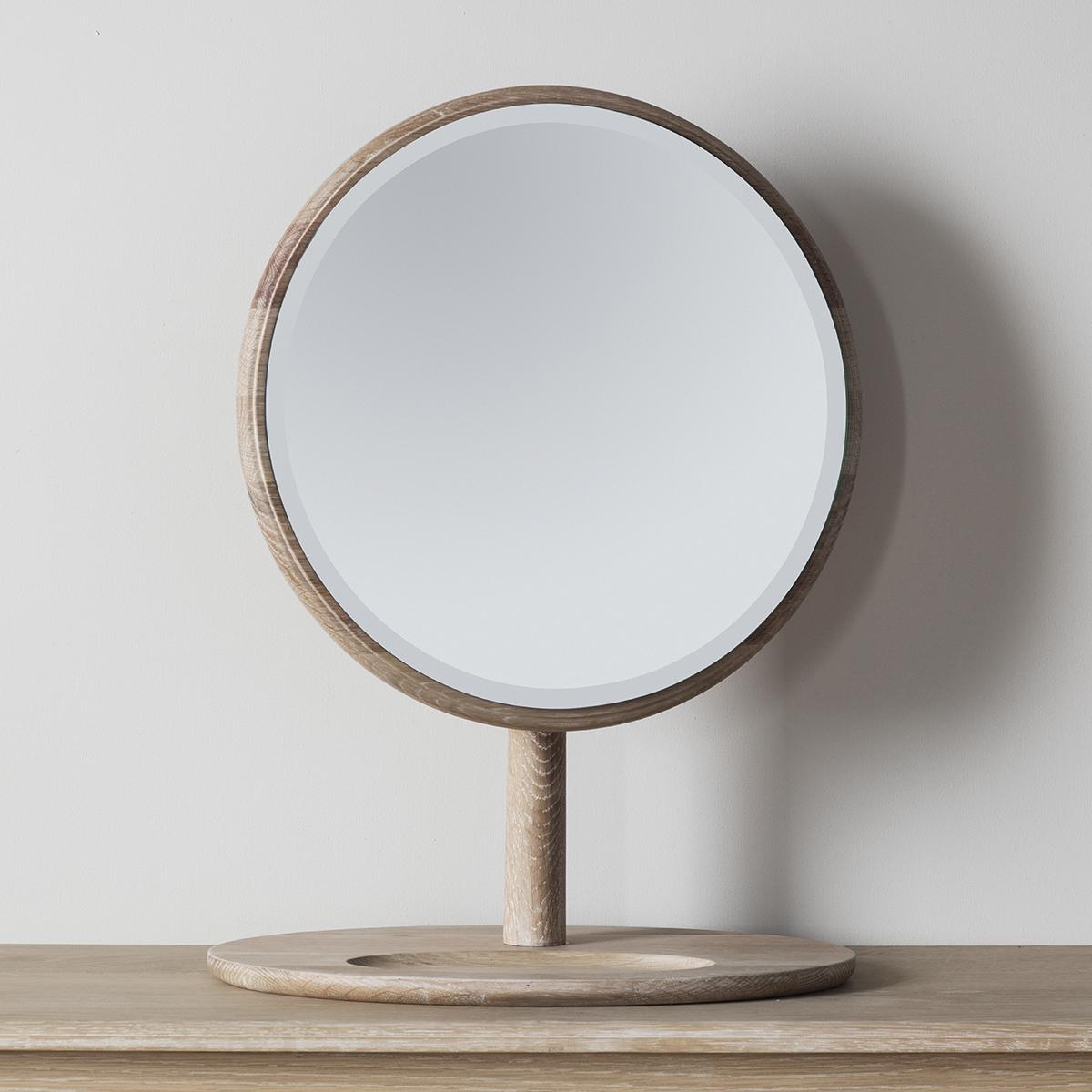 Wooden Framed Round Dressing Table Mirror  (Image 20 of 20)