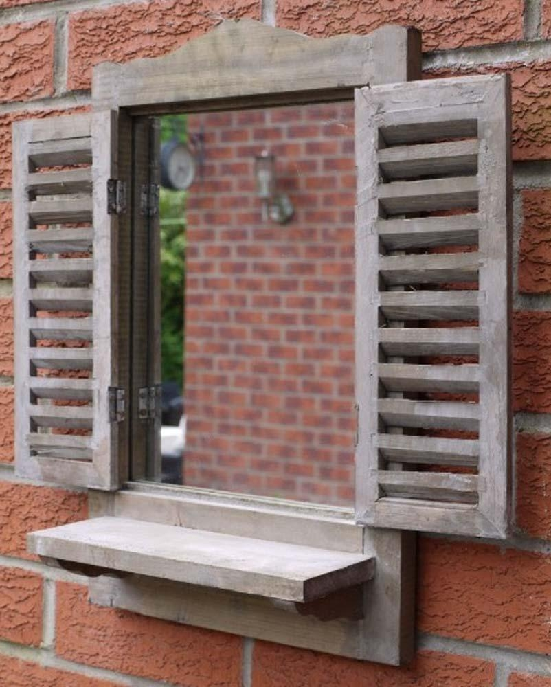 Wooden Wall Mirror – Distressed Shutter Mirror Window With Shelf Within Window Shutter Mirror (Image 20 of 20)
