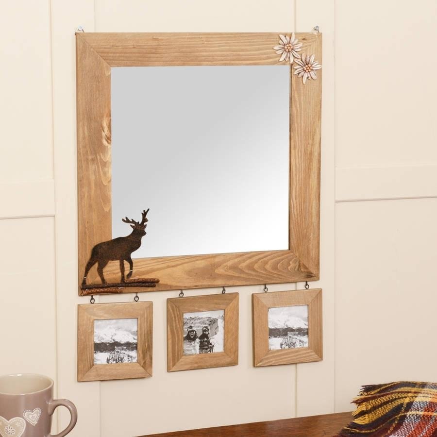 Wooden Wall Mirror With Deer Detail And Photo Framesdibor Inside Wooden Mirror (Image 18 of 20)